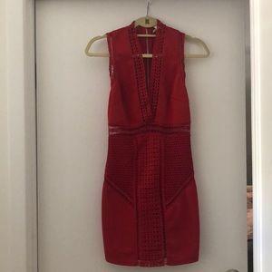 Red Mini Dress w/ Crotchet Details
